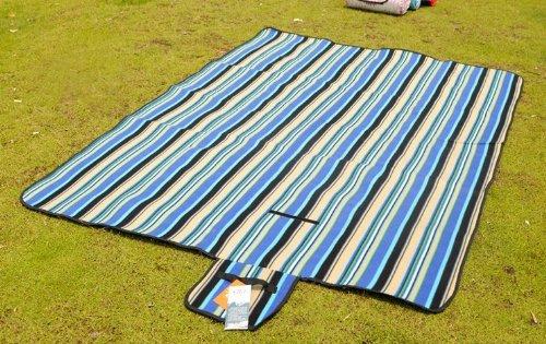 "Derkang 1.5*2M(79""x59"") Foldable Waterproof Stripe/Grid Blanket Fleece Rug Floor Mat For Outdoor Beach Camping Festival Picnic (Blue stripe)"