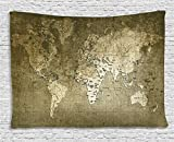 World Map Tapestry Antique Decor by Ambesonne, Old Map with Great Texture Nostalgic Ancient Plan Atlas Trace of Life World Print, Bedroom Living Room Dorm Art Wall Hanging, 80 X 60 Inches, Khaki Beige