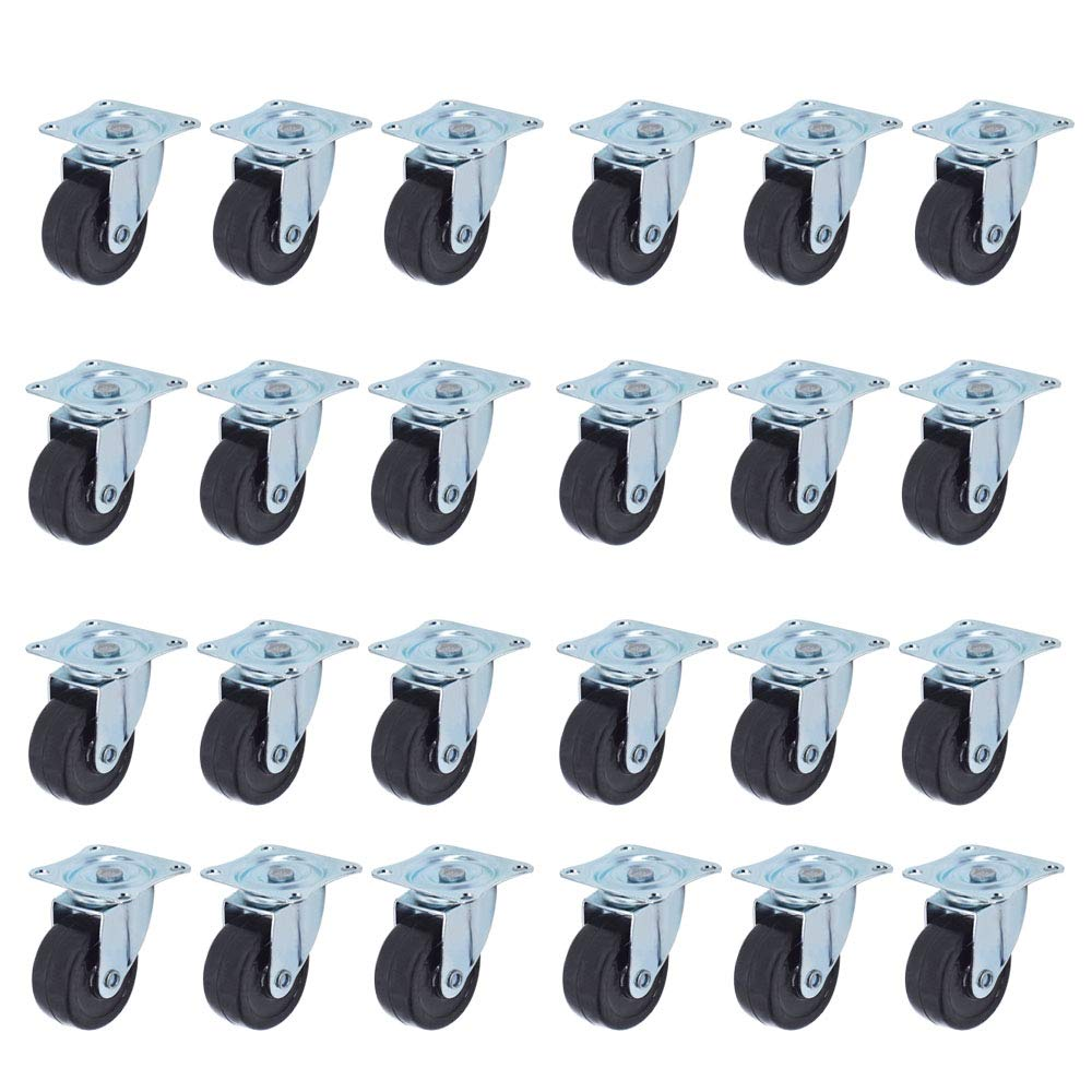 24 Pack 2 Swivel Caster Wheels Rubber Base With Top Plate /& Bearing Heavy Duty