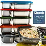 sectioned lunch containers - Mealports Divided Lunch Containers | 3 Compartment Meal Prep & Portion Control | Bento Lunch Box Set ( 6) for Kids & Adults | Food Storage,Stackable, Reusable, Microwavable, Bpa Free Plastic
