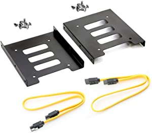 SAISN HDD SSD Mounting Bracket 2.5 to 3.5 Adapter Hard Drive Holder (Single Drive, 2 Pack + Yellow SATA II Cables)