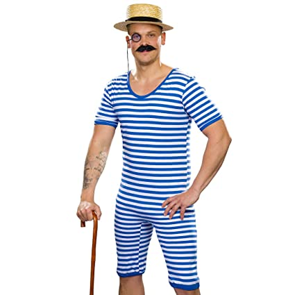 Traje de baño a rayas retro para hombre | Azul-Blanco en ...