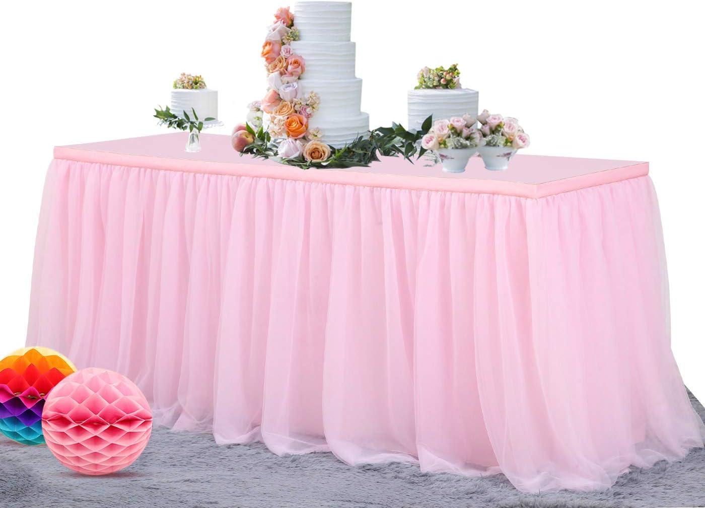 NSSONBEN 6FT Pink Tulle Table Skirt for Party Elastic Grenadine Tutu Table Skirting for Baby Shower (L72in×H30in)