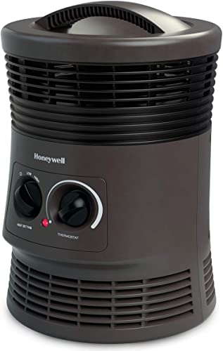 Honeywell HHF360V 360 Degree Surround Fan Forced Heater with Surround Heat Output Charcoal Grey Energy Efficient Portable Heater with Adjustable Thermostat & 2 Heat Settings