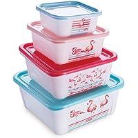 Conjunto de Potes Quadrados Flamingo com 4 Unidades Plasútil Multicor