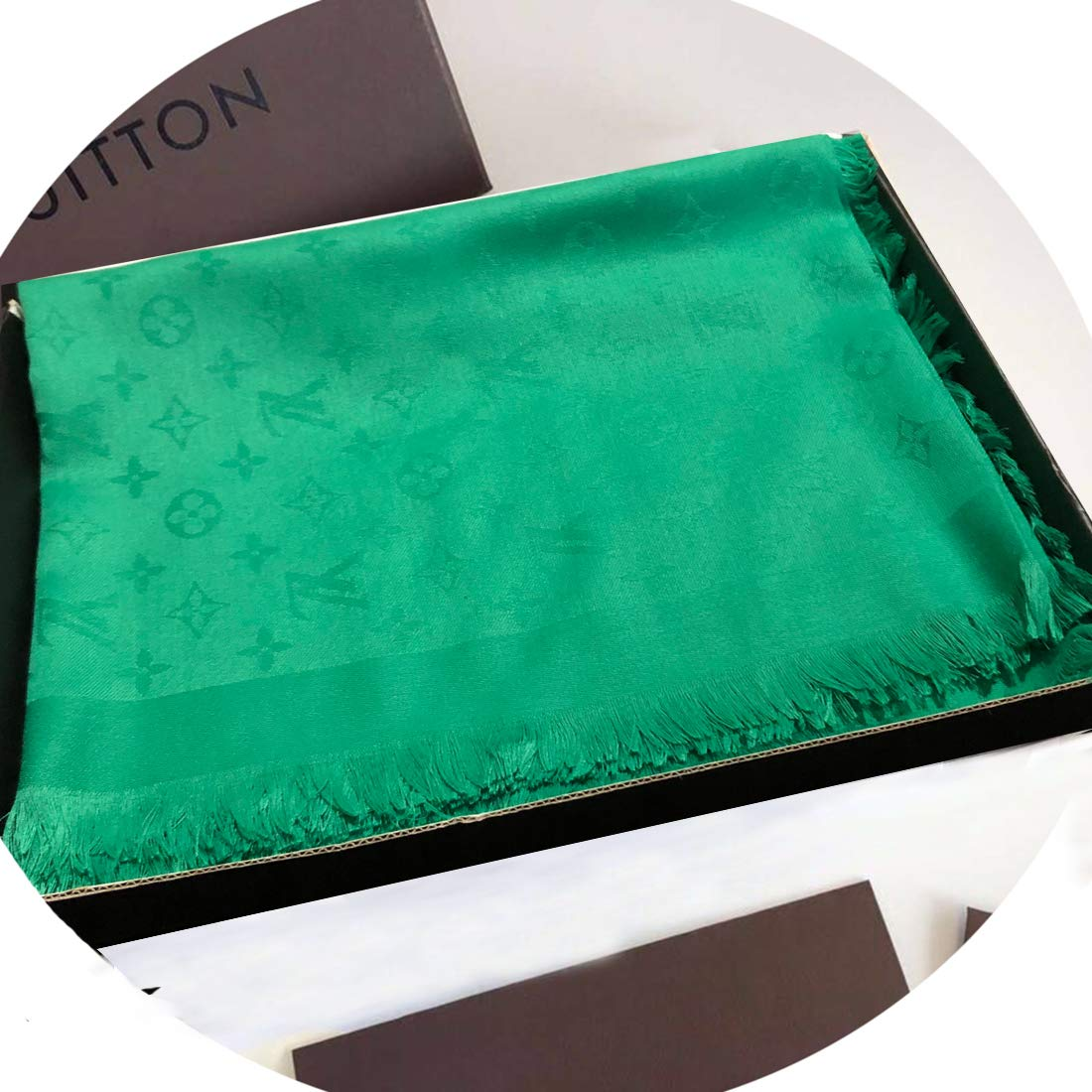 SCOBEE Fashion Luxury Cashmere/Wool Scarf Solid Green Warm Large Square Scarves for Women Men