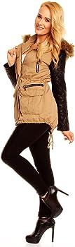 Damen Jacke mit Lederärmeln mit Fell Futter Military Look