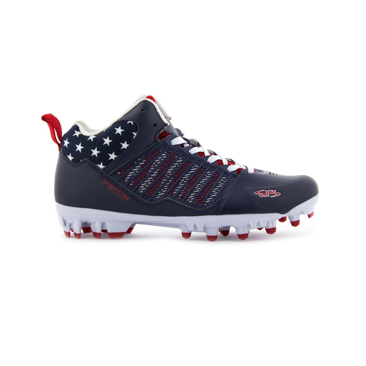 Boomah Men's Ikhana Molded USA Lacrosse Cleat Mid Navy/Red/White - Size 8.5 by Boombah