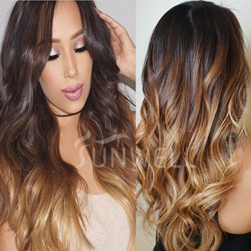 Human Hair Wigs for Black Women, Lace Front Wigs Human Hair with Baby Hair Body Wave #1B/4/27 Ombre Color 3 Tone 130% Density 18'' by SUNWELL