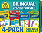 School Zone - Bilingual Spanish/English Flash Cards 4-Pack - Ages 4 and Up, Preschool to Kindergarten, ESL, Language Immersion, ABCs, Alphabet, Sight ... Card 4-pk) (English and Spanish Edition)