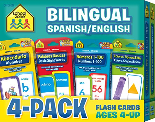 (School Zone - Bilingual Spanish/English Flash Cards 4-Pack - Ages 4 and Up, Bilingual Sight Words, Bilingual Numbers 1-100, Bilingual Colors, and More (Flash Card 4-pk) (English and Spanish Edition))