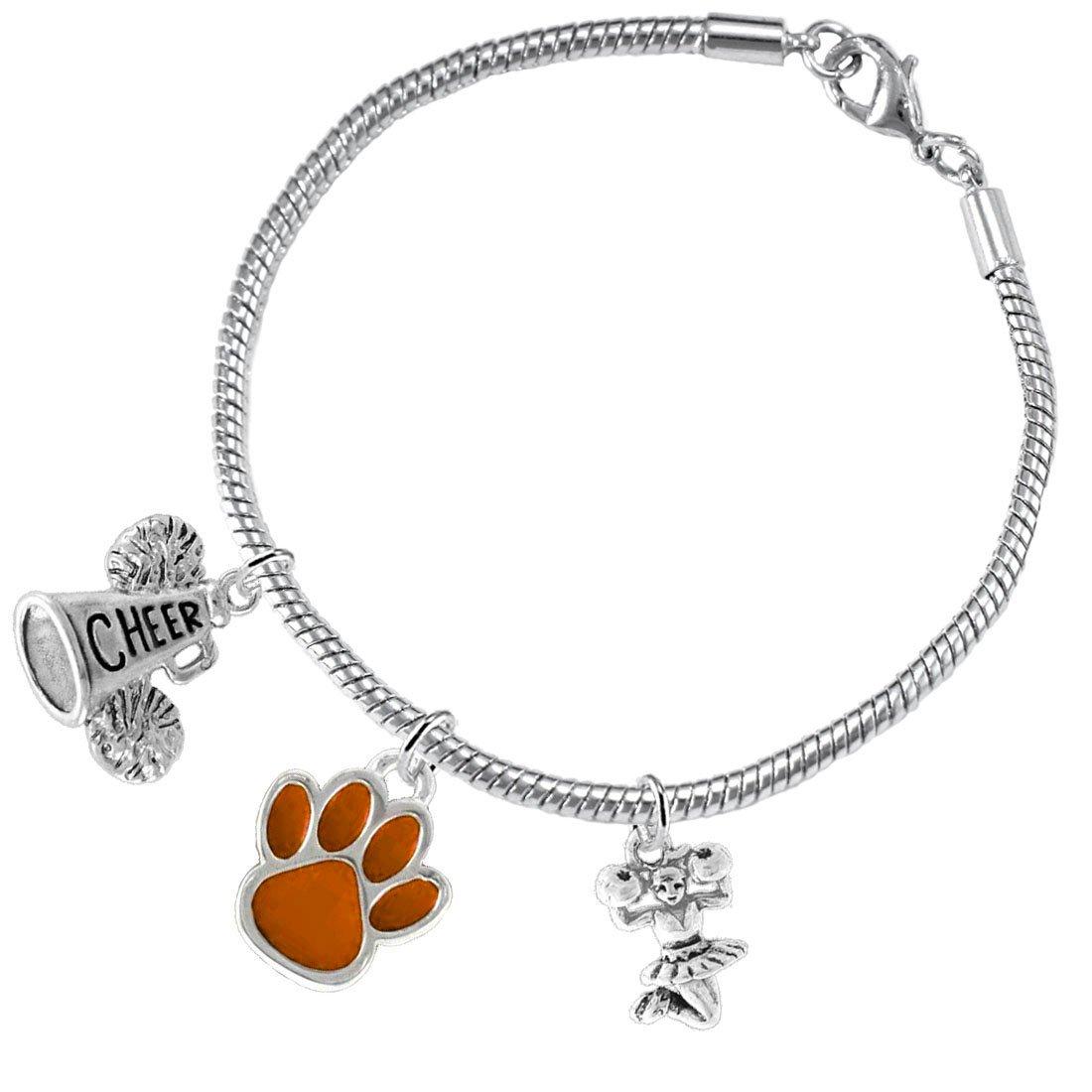 Lead and Cadmium Free Nickel Orange Paw Cheer 3 Charm Bracelet Safe-Hypoallergenic