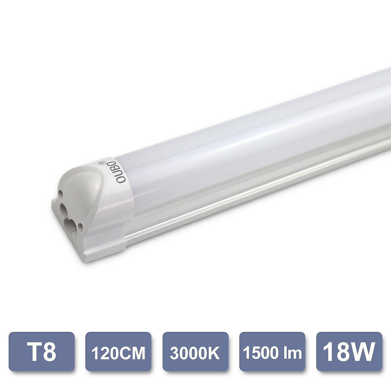 OUBO Leuchtstoffröhre 120CM LED Lichtleiste T8 Tube 18W 3000K Warmweiß Leuchtstofflampe mit Fassung Unterbau