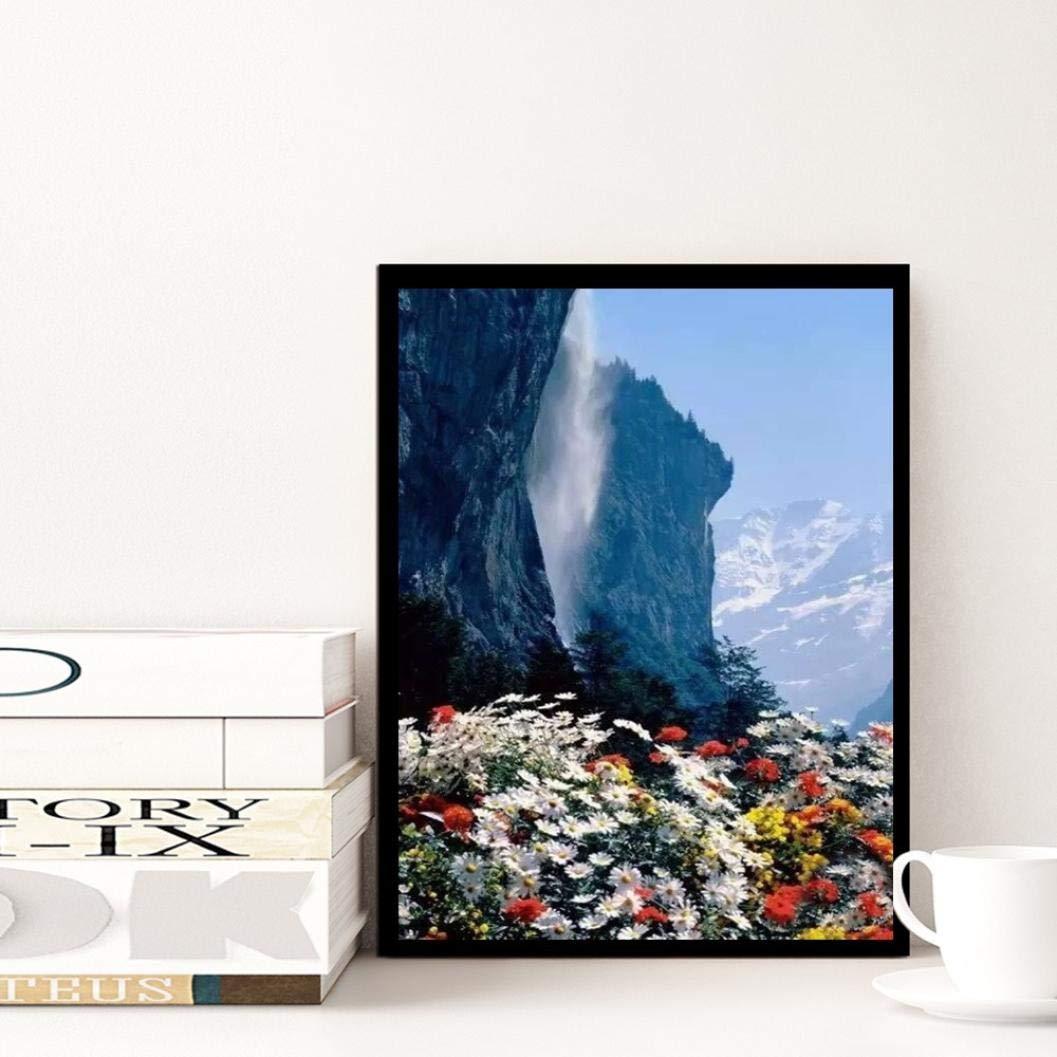 ❤️ Landschaft Diamant Zeichnung DIY Stickerei Painting Kreuz Stich Diamond Dekoration Berg Blume, 30 * 40cm sunnymi 5D Diamant Full Malerei