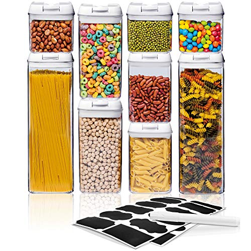 Airtight Food Storage Container Sets – Larger Sizes |Leak Proof & Interchangeable Lids| Pantry Organization| Premium Quality Clear Plastic with White Lids| BPA FREE (9-Piece Set)