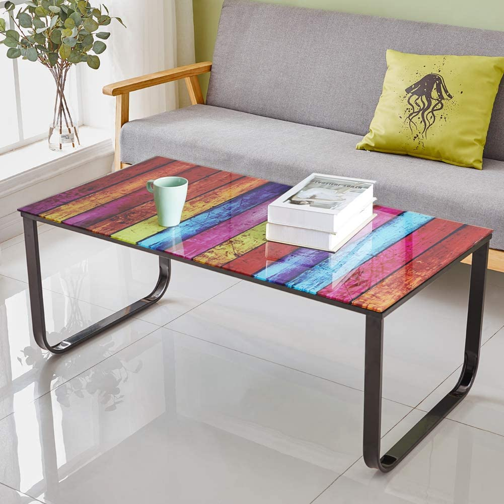 OFCASA Coffee Table with Rainbow Painting Glass Top, End Side Table Black  Legs Multi Colour for Modern Living Room Furniture (Rainbow)