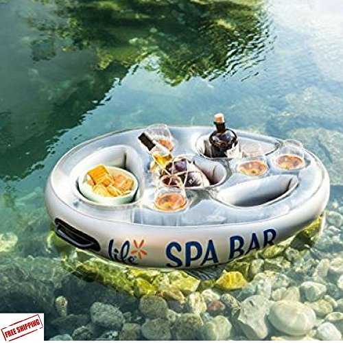 Pioneering Float Tub Bar, Inflatable Floating Tub Bar, Pool/River/Lake Pool Bar With Recesses For Glasses, Bottles, Ice & Snacks & Ebook Home Decor (Spa Snack Ideas)