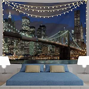 Modern City Decor Tapestry New York at Sunset Night Landscape Wall Tapestry Art Print Wall Hanging for Bedroom Living Room Dorm Home Decor (1, 59Wx51L)