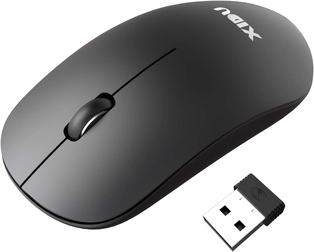 XIDU Wireless Mouse 2.4G Cordless Mice with Nano Receiver Super Energy Saving Black Ergonomic Computer Mice for PC//Tablet//Laptop and Windows//Mac//Linux