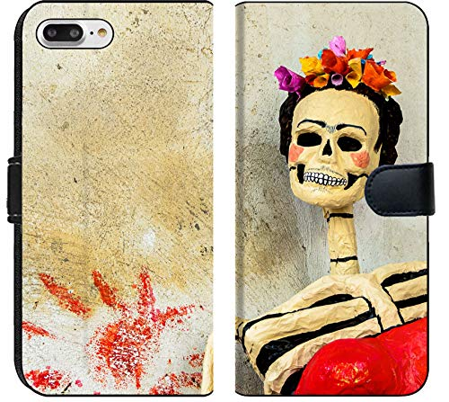 Apple iPhone 7 Plus and iPhone 8 Plus Flip Fabric Wallet Case Image ID 29689908 Day of The Dead Traditional Mexican Catrina Skeleton on Old Wall