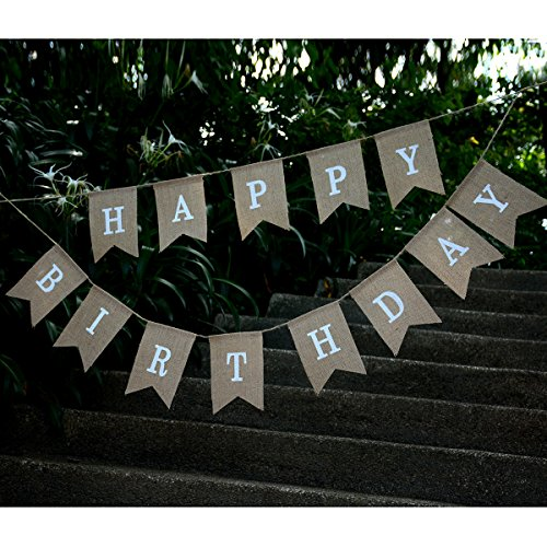 kingleder Happy Birthday Burlap Banner Rustic Birthday Party Bunting Banners Baby Shower Party Swallow-Tail Hemp Linen(5''X 7'')]()