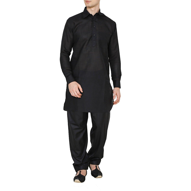Royal Kurta Men's India Traditonal Linen Pathani Suit 721-KAMIJ-SALWAR-BLACK