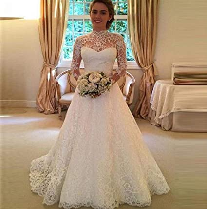cde02fcfda22b Image Unavailable. Image not available for. Color: SPP PANDA White Wedding  Dresses for Bride Bride Long Sleeve Bride UK Lace Perspective Wedding Dress