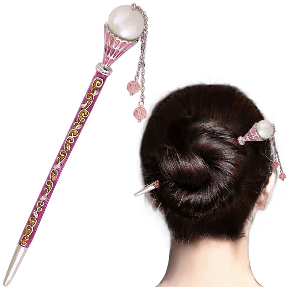 Creative Tassels Alloy Crystal Hair Ornaments Decor Accessories Women Girls Hair Stick Pin Hairpin for Long Hair,Pink B019CORMJQ