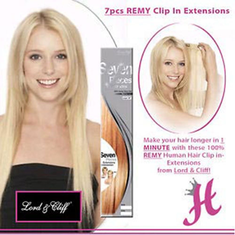 LORD & CLIFF SEVEN PIECE STRAIGHT REMY HAIR CLIP IN EXTENSION 20'' #18/24