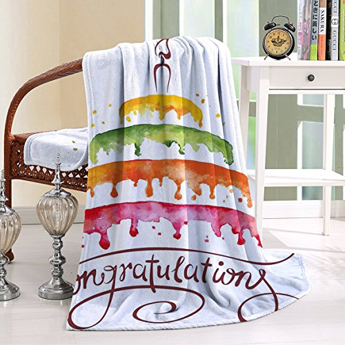 HAIXIA Throw Blanker Birthday Watercolor of Multiplex Cake with a Candle Congratulations Multicolor