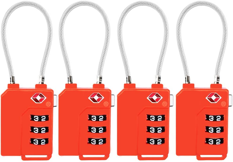 TSA Lock Security 3 Digit Combination Suitcase Luggage Bag Code Lock Padlock (Orange-4-Pack)