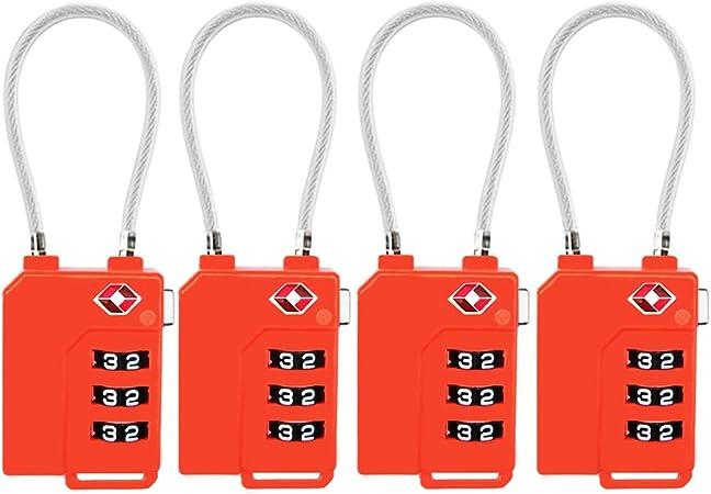 noir TSA verrouillage de s/écurit/é Combinaison /à 3 chiffres Valise Sac de voyage Cadenas /à code Lot de 4 /étiquettes /à bagage
