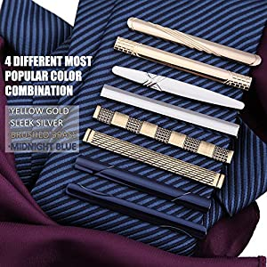 BMC Mens Metal Tie Clip Bar Clasps w/ Silver, Gold, Blue, & Brass Finishes - Business Professional Fashion Assorted Designs - Dapper Dandy (Set of 8)