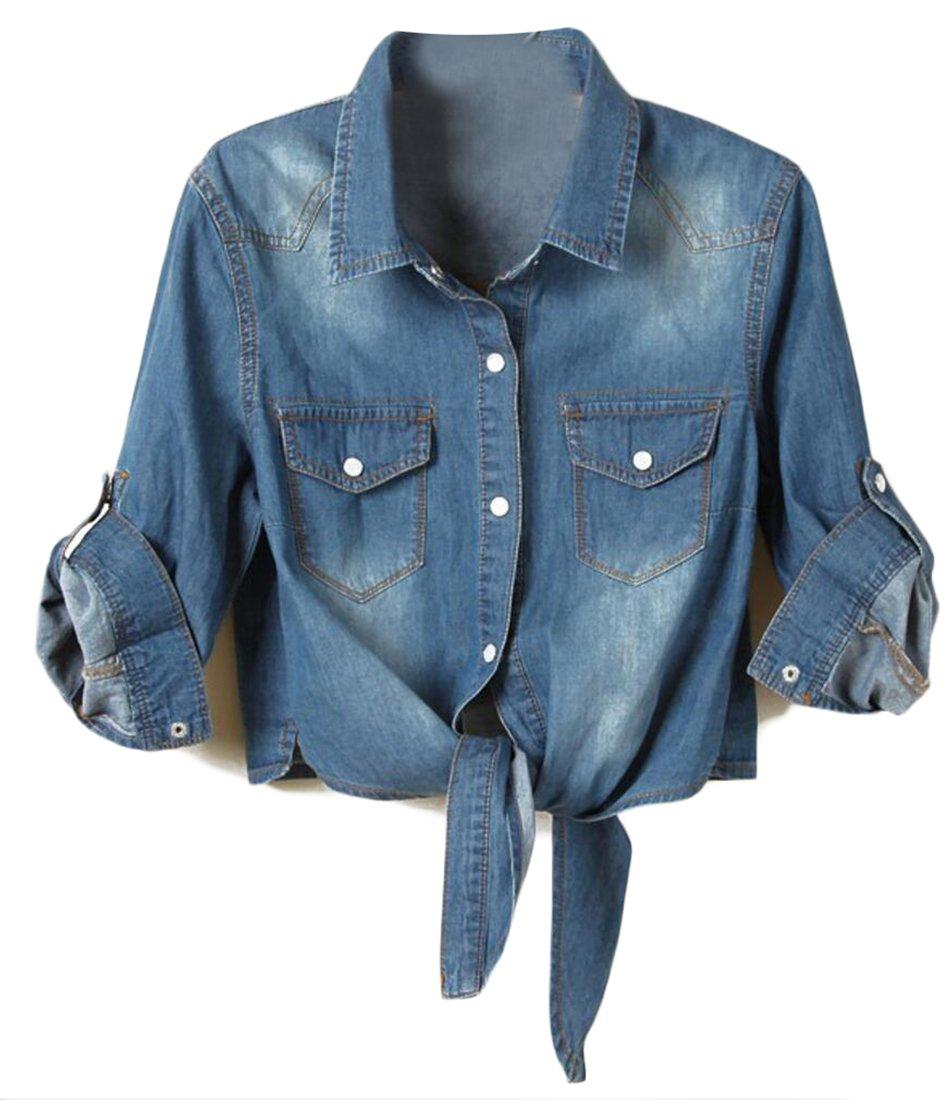 Jaycargogo Womens 3/4 Sleeve Knotted Fashion Denim Shawl Coat Top Jacket Dark Blue XL