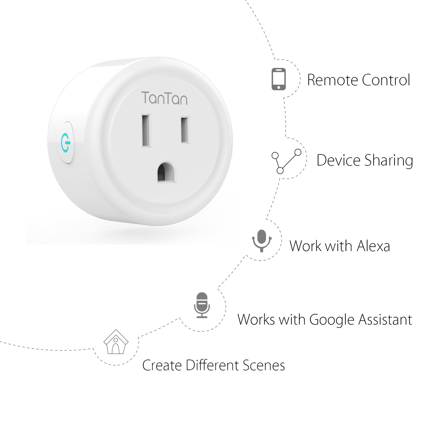 Smart Plug TanTan Wi-Fi Wireless Mini Socket Outlet Works with Amazon Alexa and Google Home & IFTTT, No Hub Required, Remote Control Your Devices from Anywhere, ETL Listed [Upgraded Version] by TanTan (Image #2)