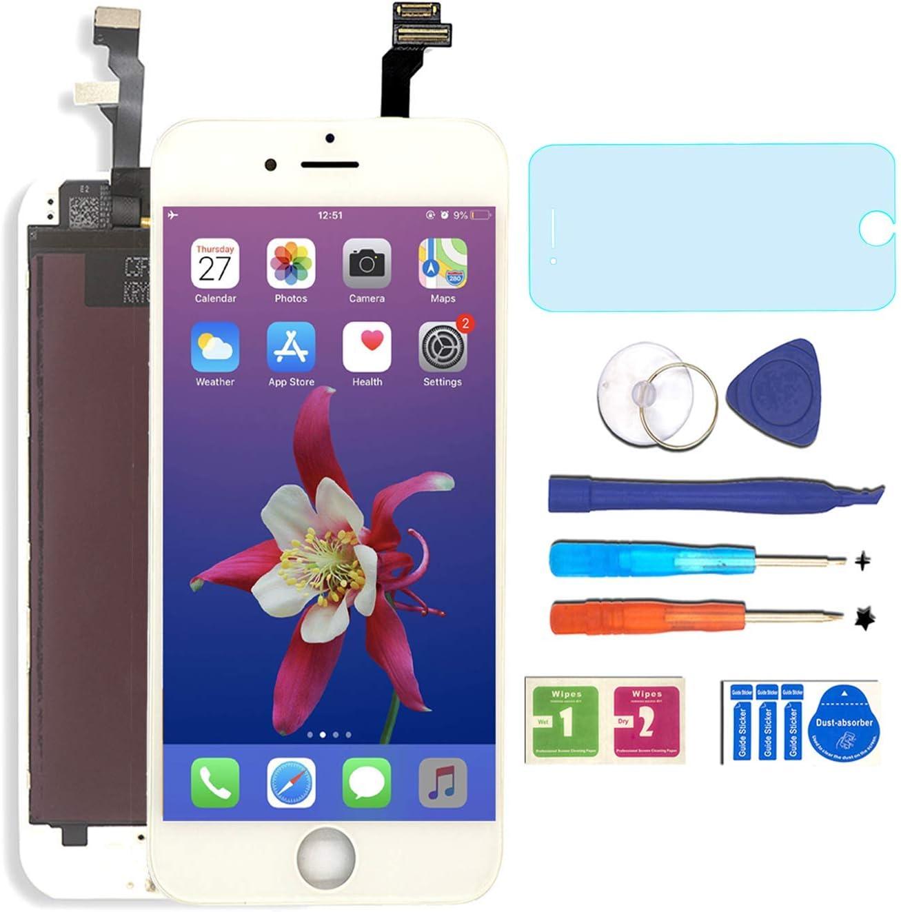 6S-Blanco BBSELL LCD Pantalla T/áctil Reemplazo De Marco Digital Un Conjunto Completo De Herramientas y Montaje Pantalla De Vidrio Protector para iPhone