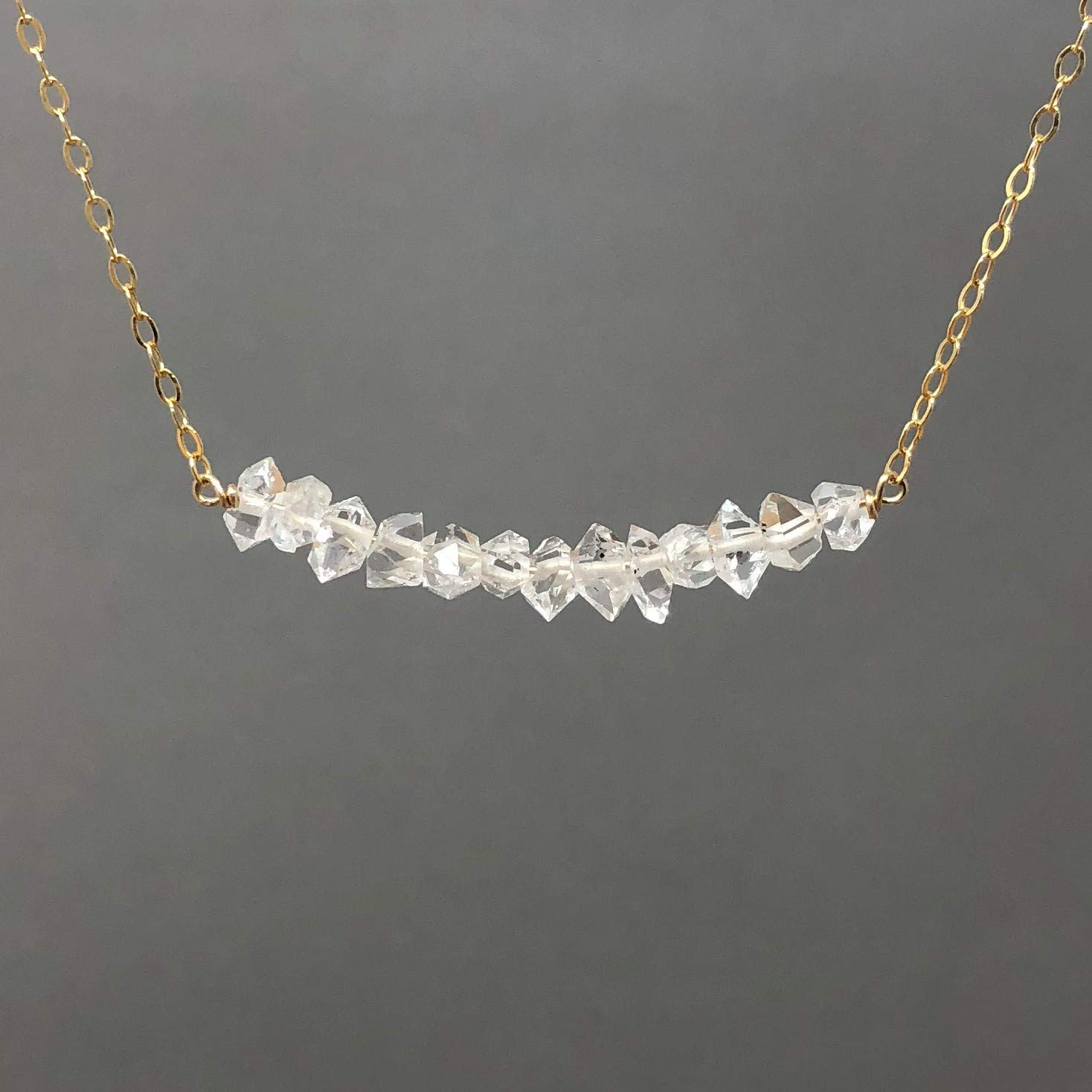Five Black Diamond Stone Gold Fill Necklace Also in Rose Gold or Sterling Silver