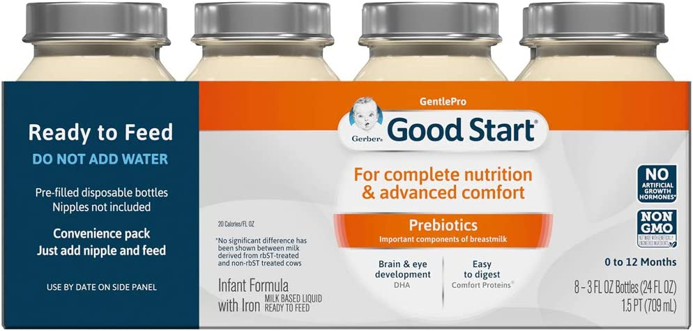 Gerber Good Start GentlePro, Prebiotics, Non-GMO Ready to Feed Infant Formula Ready to Feed Nursers Stage 1, 3 Ounces (Pack of 48)