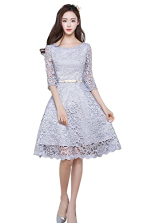 0e74b5c6a Drasawee Juniors 3/4 Sleeves Lace Evening Party Cocktail Dress Knee Length Prom  Formal Gowns: Amazon.co.uk: Clothing