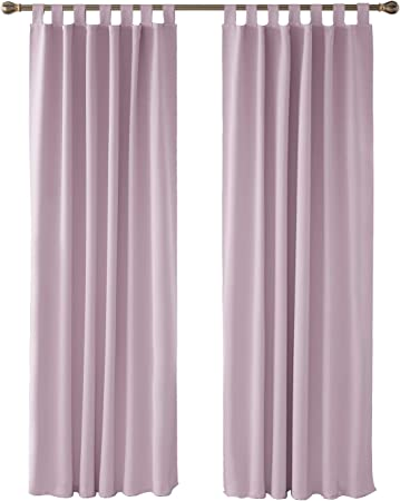Deconovo Cortinas Fruncidas Opacas de Salon con Aislamiento T/érmico para Sala de Estar Oficina Hotel Ventanas con Rod Bolsillo 117 x 183 cm Rosa