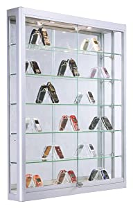 Displays2go Wall Mounted Aluminum Cabinet with Glass Shelves, Sliding Glass Doors, Lockable, LED Top Lighting – Silver (WC3946LEDS)