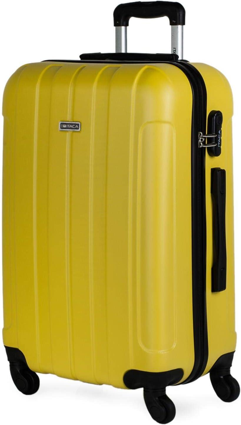 ITACA - Maleta de Viaje Rígida 4 Ruedas Trolley 63 cm Mediana de ABS Lisa. Cómoda Resistente y Ligera. Calidad Diseño Ideal para Estudiantes y Profesionales. 771160, Color Amarillo