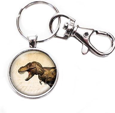 Amazon.com: T Rex Dinosaur – plata llavero con imagen de ...