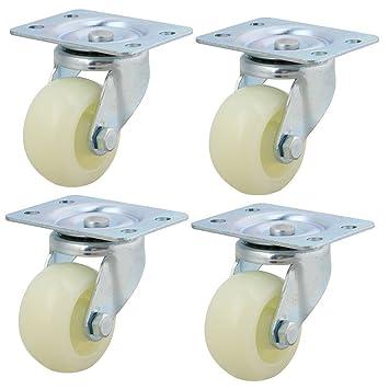 BQLZR 2 pulgadas Dia Blanco Hierro Plástico Rueda giratoria Ruedas con soporte de metal placa superior
