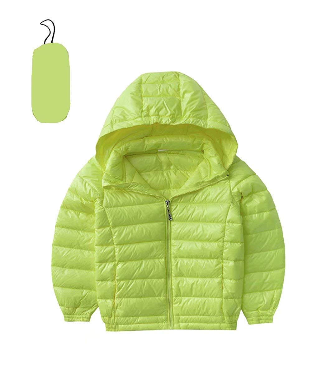 bd2cc7b790a4 Amazon.com  Hiheart Kids Hooded Lightweight Packable Down Jacket ...
