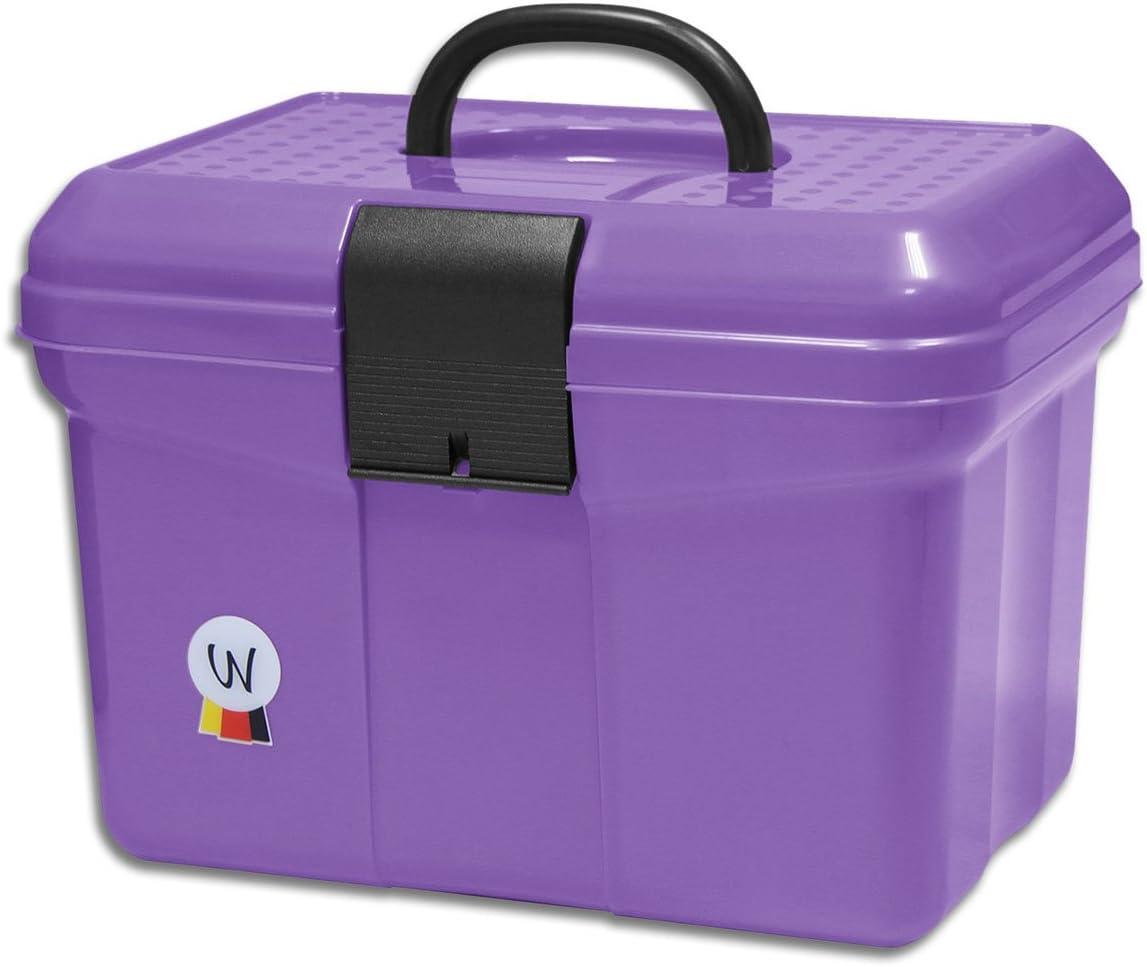 Putz Box Caja para pulir limpieza maletín con mango, se puede cerrar, divisor ajustable Grooming Caja Lila