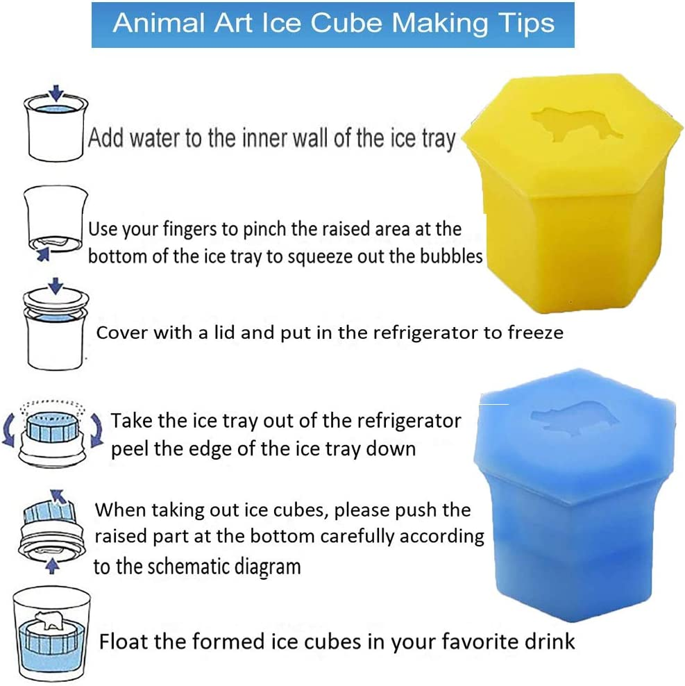 3D Animal Ice Cube Mold Silicone Freezer Lion /& Hippo Mould Cup Eco Friendly DIY Molds Maker for Whiskey Cocktail and Any Drink 2 Packs