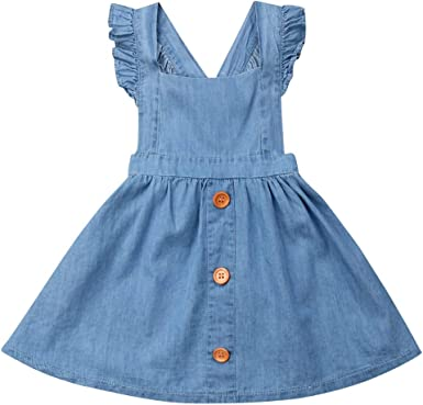 Kids Girls Casual cotton Denim Overalls Jumper Dress Suspender Jeans MIni Skirt