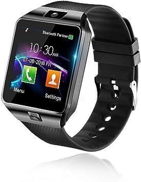 Bluetooth Smart Watch Reloj Inteligente Mujer Hombre Smartwatch Pantalla táctil con Ranura para Tarjeta SIM Cámara Podómetro Moviles Pulsera de Actividad para Android iOS (Negro) (Negro): Amazon.es: Electrónica