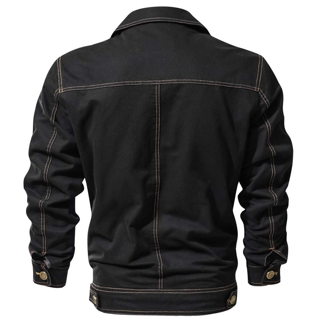 Bomber Veste De Mode Hommes Automne Hiver Vintage Fermeture /Éclair Solide Col Rabattu Manteau /À Manches Longues Manteau Costume Pantalon